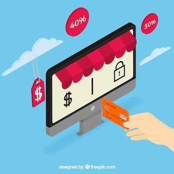 Tła zakupów online i karty kredytowej stylu vintage
