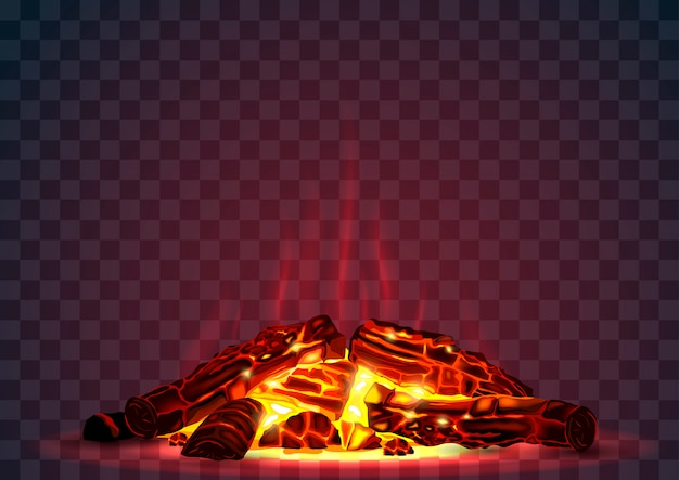 Tlący się ogień w nocy
