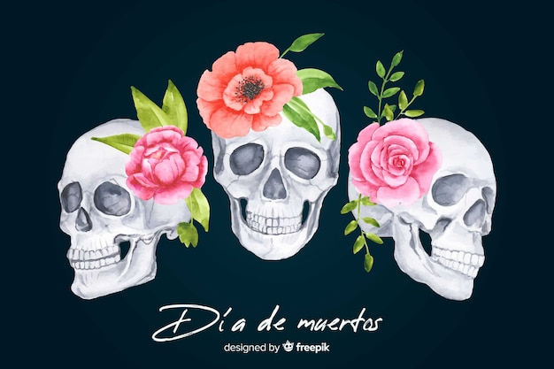 Tle akwarela dia de muertos