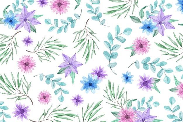 Tle akwarela z niebieskie i fioletowe kwiaty