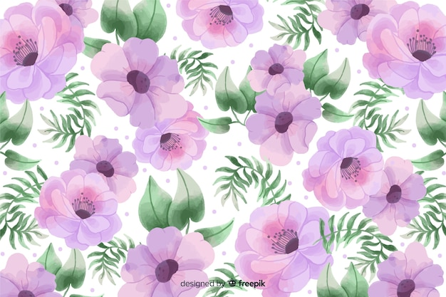 Tle akwarela z pięknymi kwiatami i liśćmi