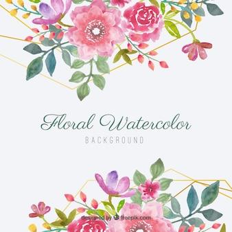 Tle akwarela z pięknymi kwiatami