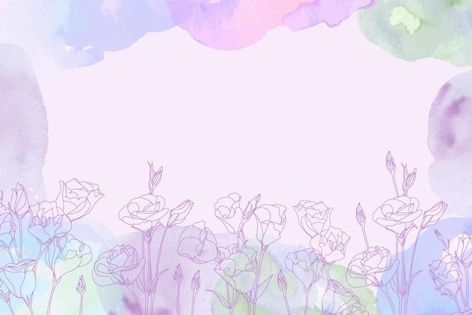 Tle akwarela z ręcznie rysowane elementy kwiatowe