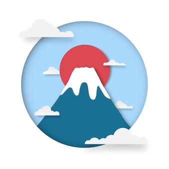 Tle góry fuji. góra fuji ze śniegiem na szczycie o wschodzie słońca.