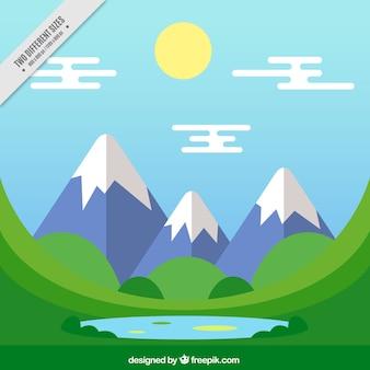Tle krajobraz z ośnieżonych gór w płaskiej konstrukcji
