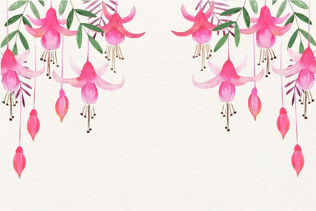 Tle kwiatów akwarela w delikatnych kolorach