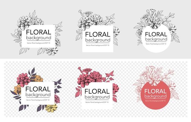 Tle kwiatów, konstrukcja ramy, kwiaty i gałęzie, ilustracji wektorowych.