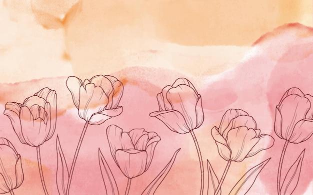 Tle Kwiatów W Akwareli Darmowych Wektorów