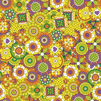 Tle kwiatów w kolorze żółtym i fioletowym