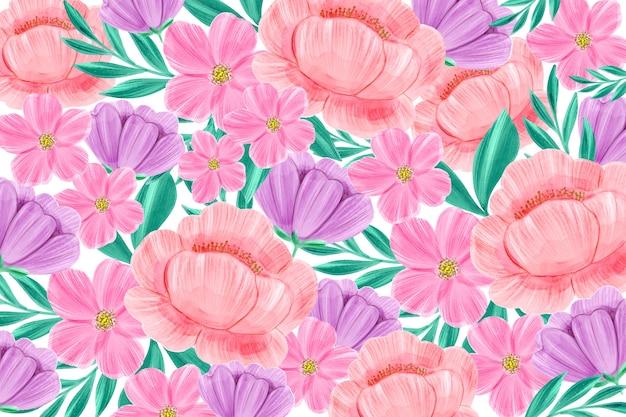 Tle kwiatów w pastelowych akwarela