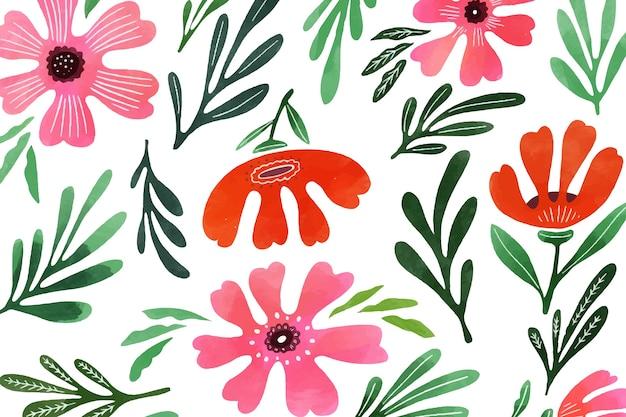 Tle kwiatów w stylu przypominającym akwarele