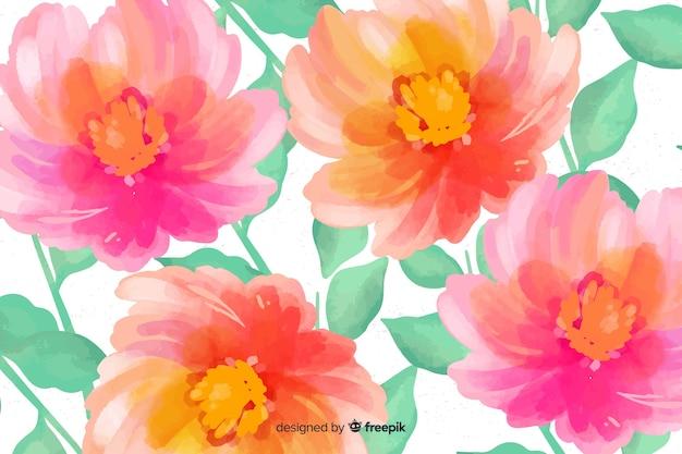 Tle kwiatów z akwarelami