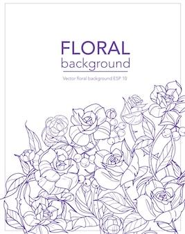 Tle kwiatów z kwiatów róż i gałęzi, ilustracji wektorowych.