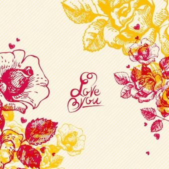 Tle kwiatów z napisem strony. karta dnia ślubu