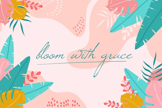 Tle kwiatów z pozytywnymi cytatami