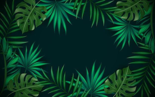 Tle zielonych liści tropikalnych