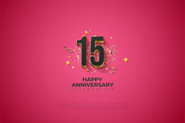 Tło 15 rocznica z ilustracją czarnych cyfr wytłoczonych złotem.