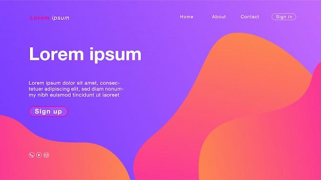 Tło abstrakcyjny fioletowy kolor krzywe pomarańczowy na stronie głównej