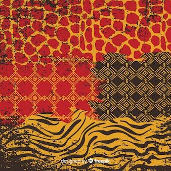 Tło afrykańskiej tkaniny i skóry zwierząt