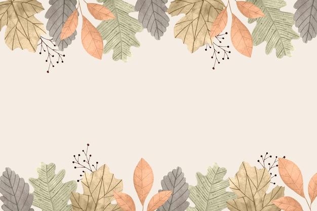 Tło akwarela jesiennych liści