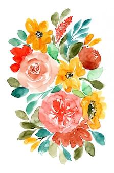 Tło akwarela kompozycji kwiatowych