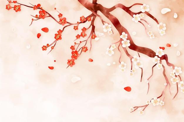 Tło akwarela kwiat śliwki