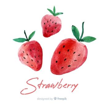 Tło akwarela owoców z truskawkami