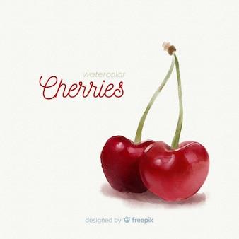 Tło akwarela owoców z wiśniami