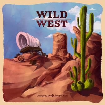 Tło akwarela pustyni z wózka i kaktus
