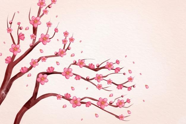 Tło akwarela różowy kwiat śliwki