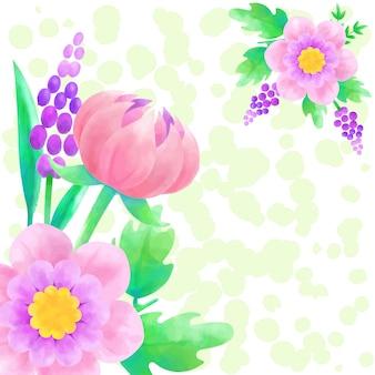 Tło akwarela różowy kwiat