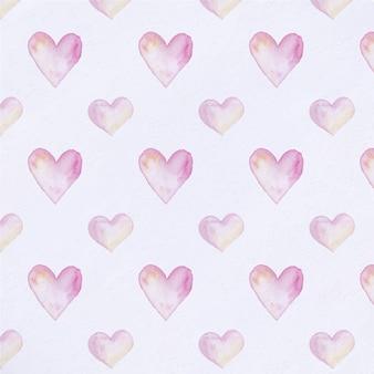 Tło akwarela serca wzór