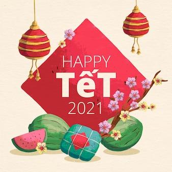 Tło akwarela têt (wietnamski nowy rok)