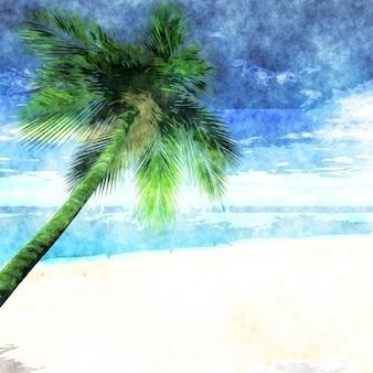 Tło akwarela tropikalna plaża