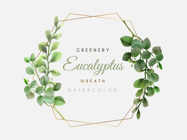 Tło akwarela wieniec eukaliptusa zieleni
