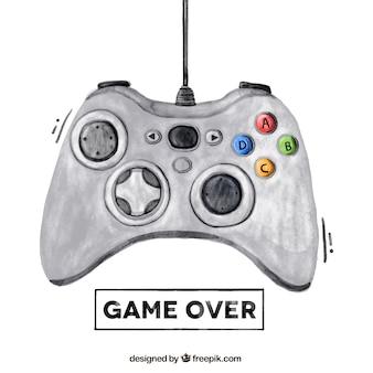 Tło akwarela z kontrolerem gier