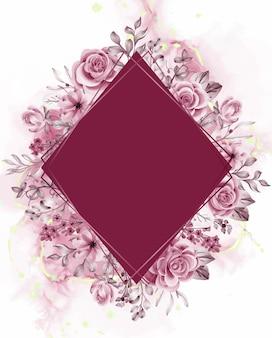 Tło akwarelowe różowe kwiaty i liście z linią złota