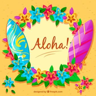 Tło aloha z desek surfingowych i kwiatów