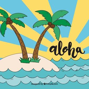 Tło aloha z palmami i ręcznie rysowane fale