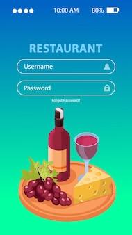 Tło aplikacji do produkcji wina z ilustracją izometryczną nazwy użytkownika i hasła