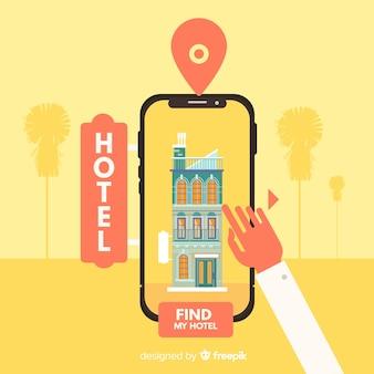 Tło aplikacji rezerwacji hotelu płaski