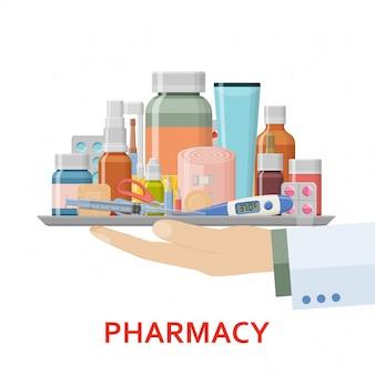 Tło apteki. różne medyczne pigułki, gips, termometr, strzykawka i butelki w ręce lekarza. ilustracja