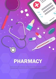 Tło apteki z przykładowym szablonem tekstu i wyrobami medycznymi i pigułkami