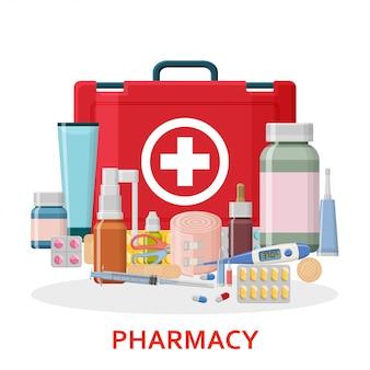 Tło apteki. zestaw pierwszej pomocy medycznej z różnymi tabletkami, gipsem, butelkami i termometrem, strzykawką. ilustracja