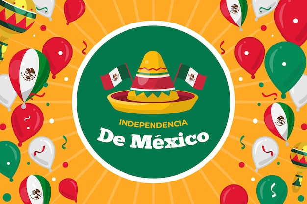 Tło balon independencia de mexico z kapeluszem