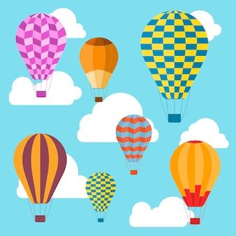 Tło balonów powietrznych. letnie wakacje, turystyka i podróże.