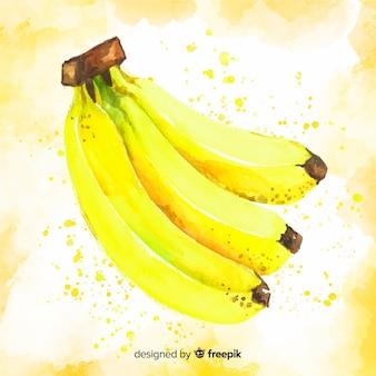 Tło banan akwarela