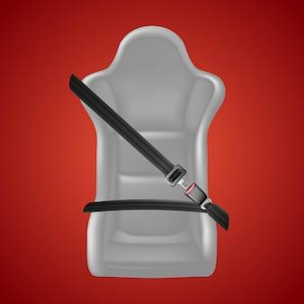 Tło bezpieczeństwa na czerwono. zamocuj znak siedzenia za pomocą zapnij pas i fotelik samochodowy.