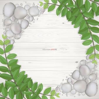 Tło białe drewno z zielonymi liśćmi i żwirem. naturalne tło dla projektu szablonu. ilustracja wektorowa.