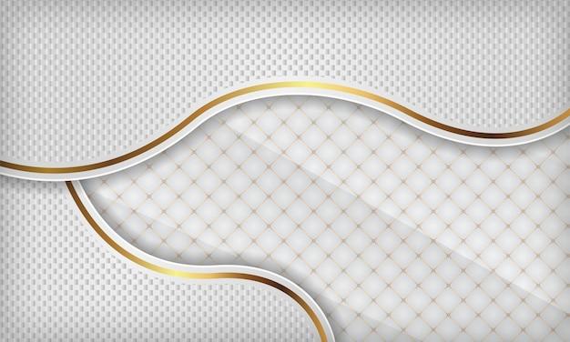 Tło białe luksusowe fala papercut ze złotymi liniami